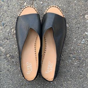 "Franco Sarto• Pine"" Black Leather Espadrilles"